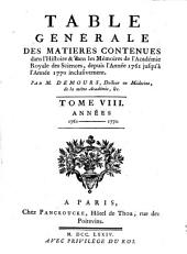 Table générale des matières contenues dans l' Histoire & dans les Mémoires de l' Académie Royale des Sciences: Volume8