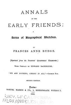 Annals of the Early Friends PDF