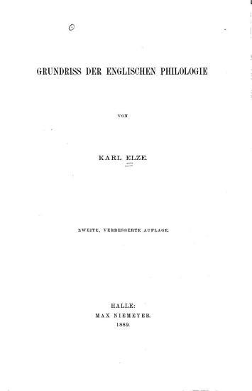 Grundriss der englischen philologie PDF