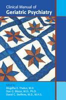 Clinical Manual of Geriatric Psychiatry PDF