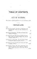 Acts of the Legislature of the Province of Manitoba