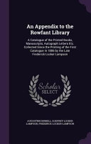 An Appendix to the Rowfant Library PDF