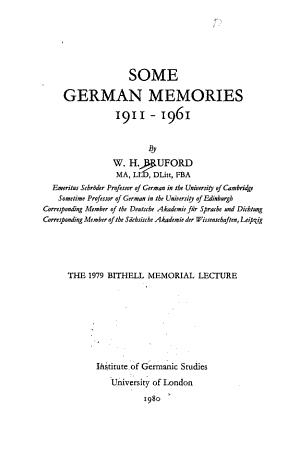 Some German Memories, 1911-1961