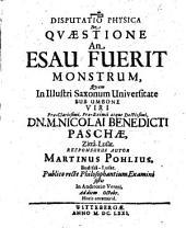 De Quaestione An Esau Fuerit Monstrum