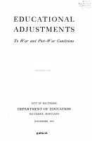 Educational Adjustments to War and Post war Conditions PDF