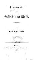 Fragmente aus der Geschichte der Musik PDF