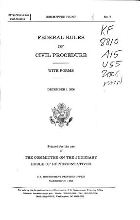 Federal Rules of Civil Procedure  with Forms PDF