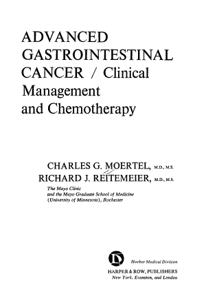 Advanced Gastrointestinal Cancer/clinical Management and Chemotherapy