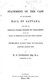 A Statement of the Case of the Deposed Raja of Sattara