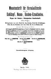 Monatsschrift für Ohrenheilkunde und Laryngo-Rhinologie: Band 34