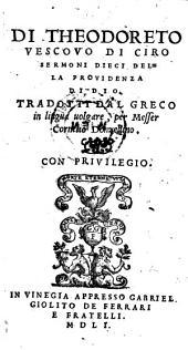 Sermoni dieci della providenza di Dis. Tradotti dal Greco in lingua volgare per Messer Cornelio Donzellino