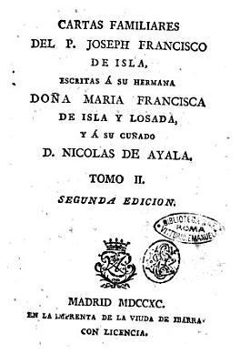 Cartas familiares del P  Joseph Francisco de Isla PDF