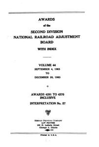 Awards of the Second Division  National Railroad Adjustment Board  with Index PDF