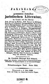 Jahrbücher der gesammten deutschen juristischen Literatur: Band 23