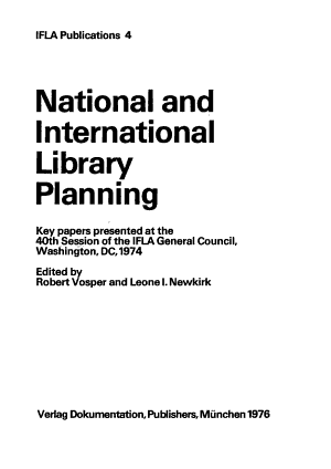 National and International Library Planning