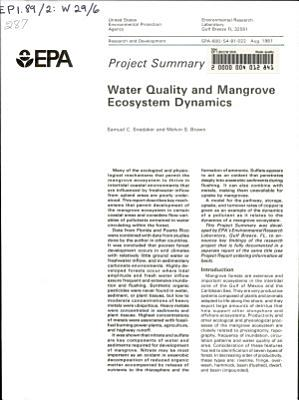 Water quality and mangrove ecosystem dynamics