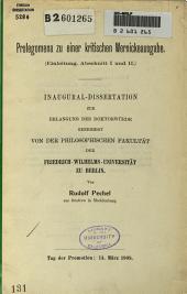 Prolegomena zu einer kritischen Wernickeausgabe: Einleitung, Abschnitt I und II.