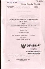 Report on Legislative and Oversight Activities ..., January 2, 2014, 113-1 House Report 113-314