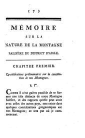 Mémoire sur la nature de la montagne salifère du District d'Aigle...
