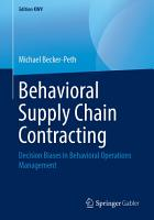 Behavioral Supply Chain Contracting PDF