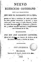 Nuevo ejercicio cotidiano con las oraciones que dice el Sacerdote en la Misa: puestas en latin y castellano
