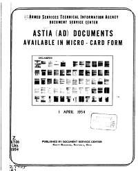 ASTIA  AD  Documents Available in Micro card Form