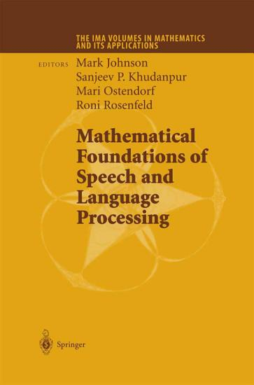 Mathematical Foundations of Speech and Language Processing PDF