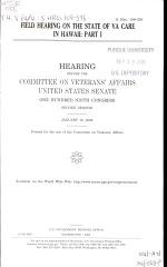 Field Hearing on the State of VA Care in Hawaii