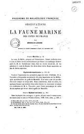 Observations sur la faune marine des côtes de France