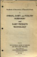 Handbook of Descriptions of Specialized Fields in Animal  Dairy  and Poultry Husbandry and Dairy Products Technology PDF