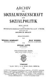 Archiv für Sozialwissenschaft und Sozialpolitik: Band 20