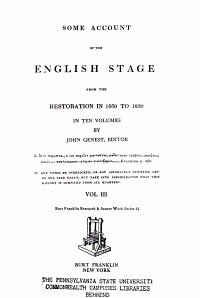 Some Account of the English Stage from the Restoration in 1660 to 1830