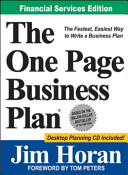 The One Page Business Plan for Financial Services Professionals