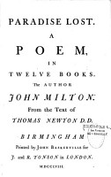Paradise Lost  A Poem  in Twelve Books  The Author John Milton  From the Text of Thomas Newton D  D  PDF
