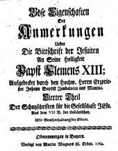Böse Eigenschaften Der Anmerkungen Ueber Die Bittschrift der Jesuiten An Seine Heiligkeit Papst Clemens XIII
