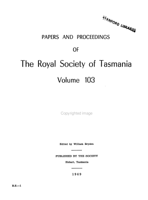 Papers and Proceedings of the Royal Society of Tasmania PDF