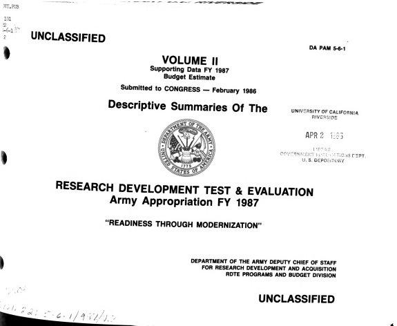 Descriptive Summaries for Program Elements of the Research  Development  Test and Evaluation  Army Program FY      U   PDF