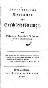 Über deutsche Vornamen und Geschlechtsnamen
