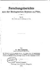 Forschungsberichte aus der Biologischen Station zu Plön: Bände 10-11