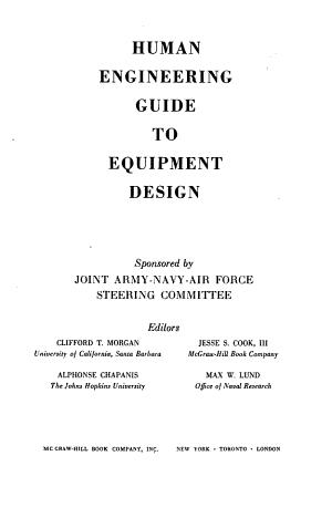 Human Engineering Guide to Equipment Design PDF