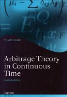 Arbitrage Theory in Continuous Time PDF