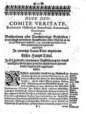 Relatio historica: Jacobi Franci historische Beschreibung der denckwürdigsten Geschichten .... 1698