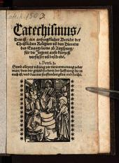 Catechismus, das ist ain anfengklicher bericht der christlichen Religion