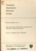 The Assessment of Pavement Loading for the Allocation of Road Track Costs PDF