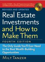 Real Estate Investments and How to Make Them  Fourth Edition  PDF