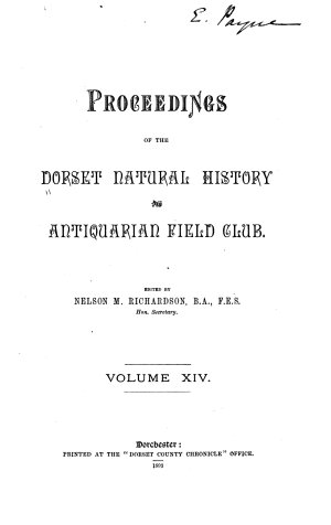 Proceedings of the Dorset Natural History and Antiquarian Field Club