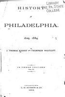 History of Philadelphia  1609 1884 PDF