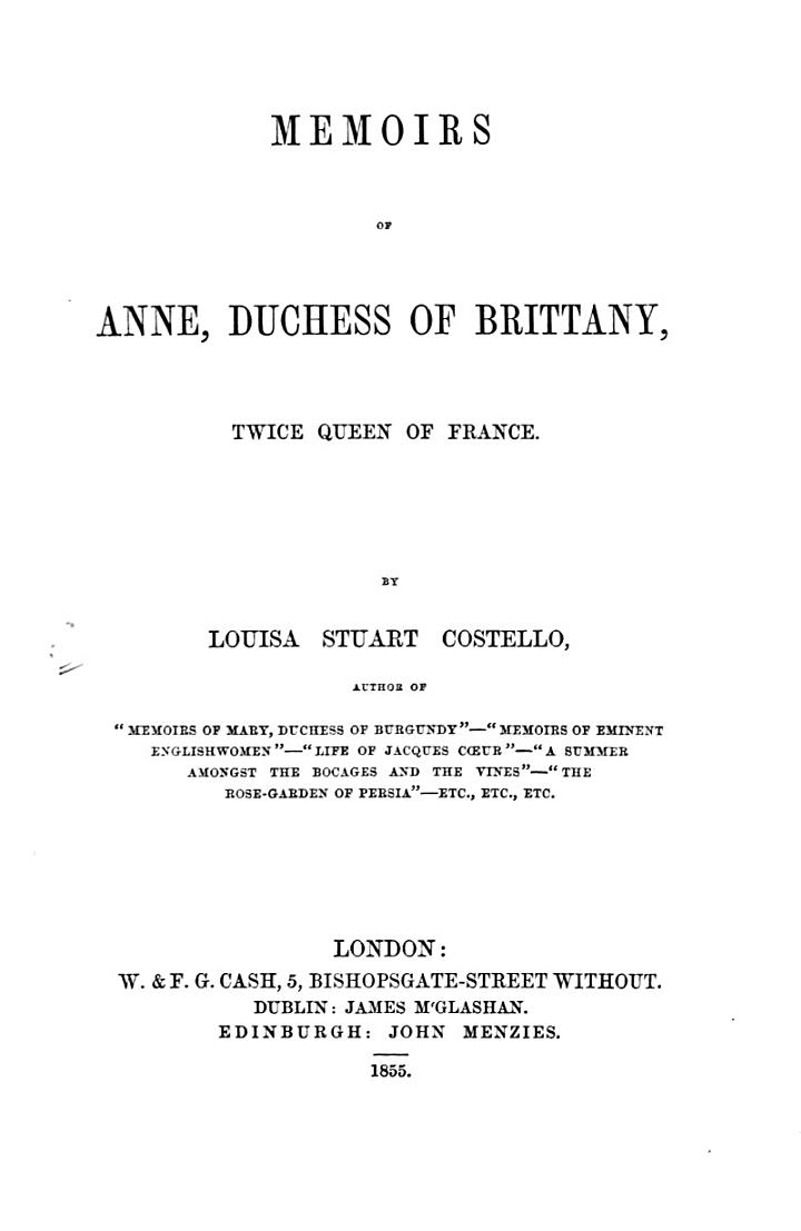Memoirs of Anne, Duchess of Brittany, Twice Queen of France