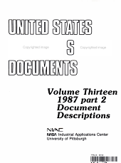 UNITED STATES POLITICAL SCIENCE DOCUMENTS Volume Thirteen 1987 part 2 Document Descriptions
