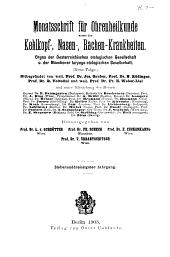 Monatsschrift für Ohrenheilkunde und Laryngo-Rhinologie: Band 37